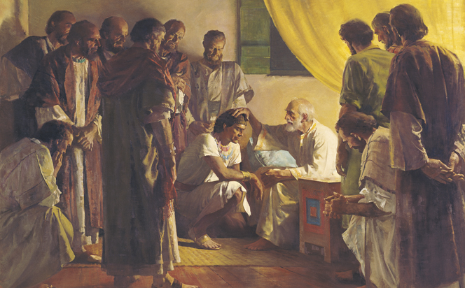 A painting by Harry Anderson of an elderly Jacob placing his hand on the head of one of his sons, who kneels before him, while the other sons look on.