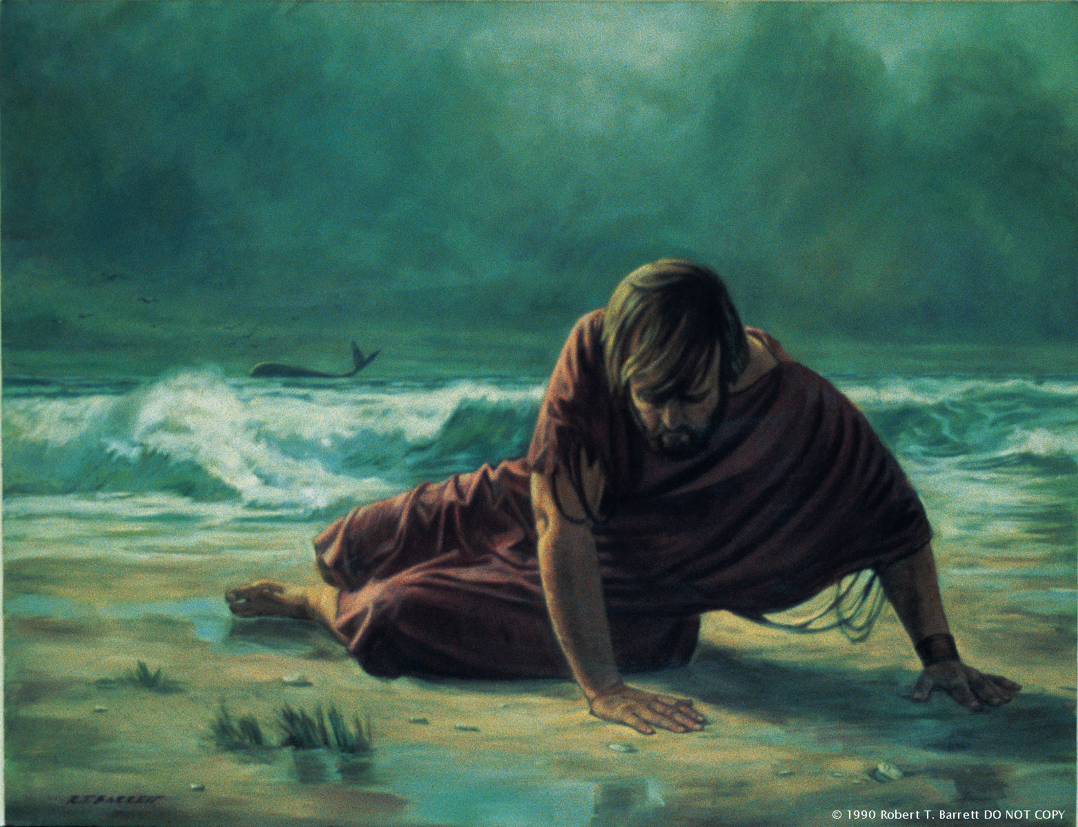 A painting by Robert T. Barrett showing Jonah in a ragged red robe lying on a beach with the silhouette of a whale seen in the distance.