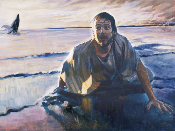 A painting showing Jonah on a beach, soaking wet, with the fin of a whale in the background.