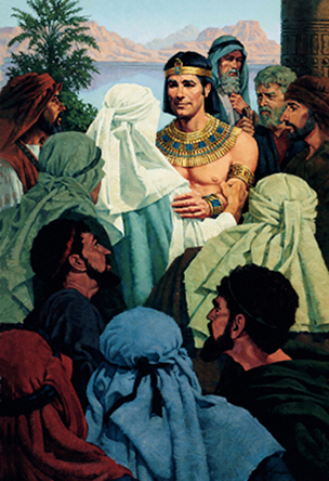 A painting by Ted Henninger showing Joseph of Egypt surrounded by his brothers, smiling and showing forgiveness toward them.