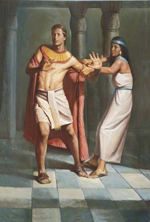 A painting by Del Parson showing Joseph trying to step away from Potiphar's wife, who is holding onto his robe.