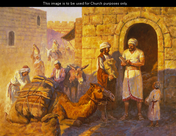 A painting by Clark Kelley Price showing Old Testament–era people bringing goods by camel as payment of tithes and offerings to Melchizedek.