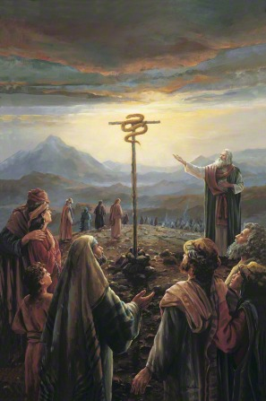 A painting by Judith Mehr of Moses standing before the children of Israel, pointing toward a large brass serpent on a pole.