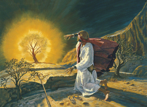 A painting by Jerry Thompson showing Moses with his sandals off, falling backward near a large burning bush.