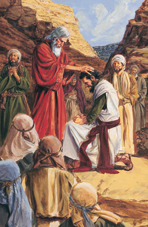 A painting by Darrell Thomas of white-haired Moses placing his hands on the head of Joshua, who kneels before him.