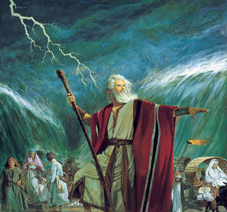 A painting by Robert T. Barrett of Moses holding a staff and stretching out his arm while the Red Sea parts and a storm rages behind him.