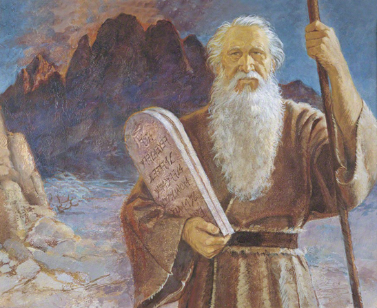 A painting by Jerry Harston of Moses with a long white beard, holding a staff and two stone tablets.