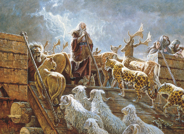 A painting by Clark Kelley Price of Noah standing on the ark while the animals walk up a ramp to board the ship and a storm brews in the background.
