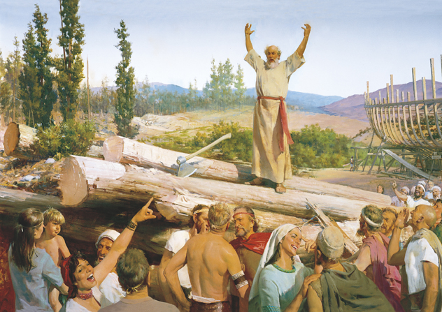 A painting by Harry Anderson showing Noah standing on a stack of lumber with his arms raised, warning the people who stand around him laughing.