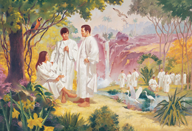 A painting by Jerry Harston depicting spirits interacting in the pre-earth life in an outdoor setting with a waterfall, birds, and trees.