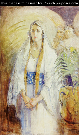 A painting by Minerva Kohlhepp Teichert of Queen Esther in white and blue clothing with her hair in two golden braids.