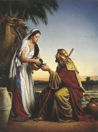 A painting by Michael Deas of Rebekah standing near a well and pouring water from a vessel for Abraham's servant.