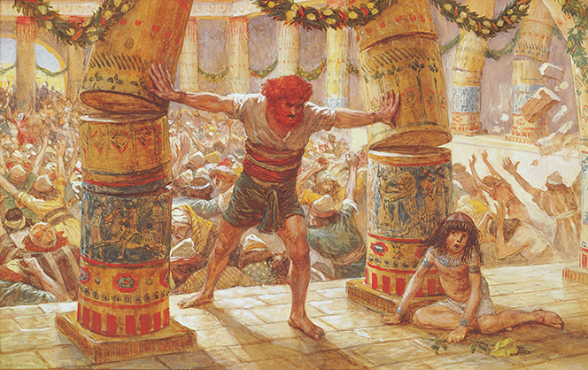 A painting by James Tissot showing the biblical Samson pulling down the pillars of the temple while the building crumbles all around.