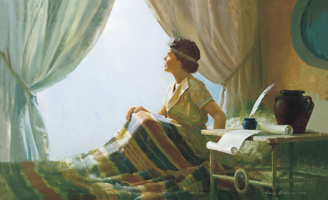 A painting by Harry Anderson showing Samuel as a boy sitting up in bed and looking out the window where a bright light is shining.