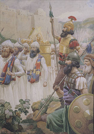 A painting by Frank Adams showing Joshua and his men wearing armor, carrying spears, and blowing horns around the walls of Jericho.