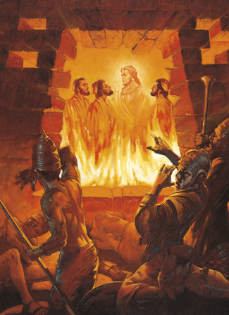 A painting by William Maughan of Shadrach, Meshach, Abednego, and the Lord in a hot furnace, with the soldiers at the entrance falling backward.