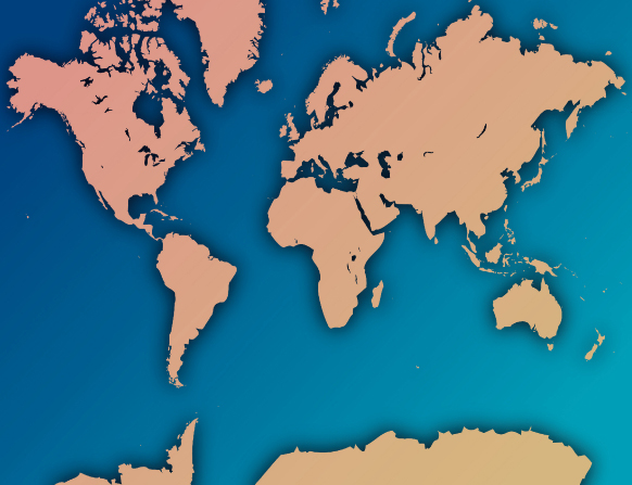 A tan and blue map by Jerry Thompson depicting the earth's continents and oceans.