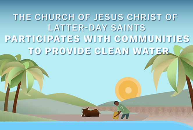 A water-themed infographic detailing the Church's efforts and practices to provide communities globally with clean water.
