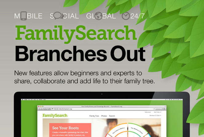 An infographic with an image of green leaves and with details of the new features provided by FamilySearch for building a user's family tree, such as more photos, billions of names, and live help 24/7.