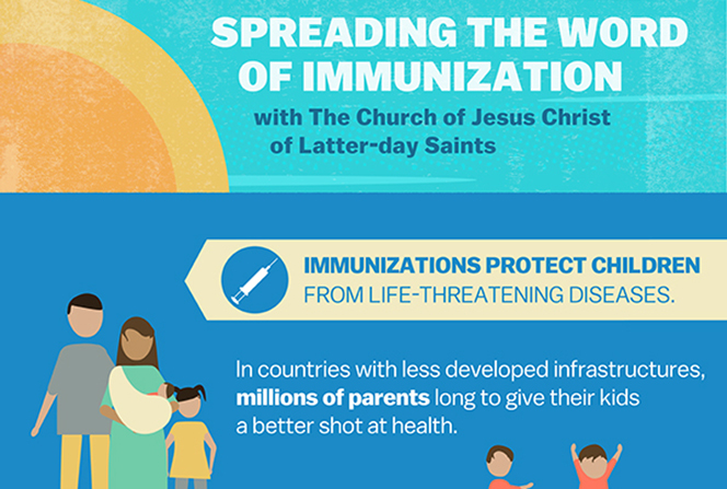 A blue and teal infographic that describes the importance of vaccinations and the Church's efforts to provide immunizations such as measles vaccinations globally.