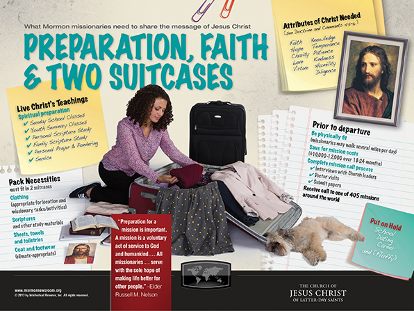 An infographic describing LDS missionaries' purpose and preparation, showing a sister missionary packing and her dog lying next to her suitcase.