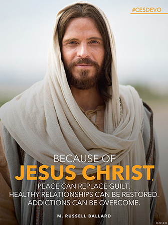 "An image of Jesus Christ, with text quoting Elder M. Russell Ballard: ""Because of Jesus Christ, peace can replace guilt."""
