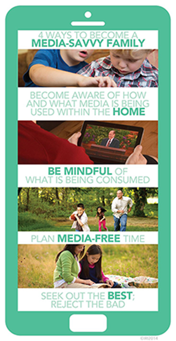 A graphic of a smartphone combined with images of people using media and tips to becoming a media-savvy family.