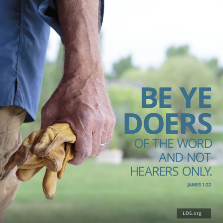 """A close-up of a man's hand holding leather work gloves, with a quote from James 1:22: """"Be ye doers of the word, and not hearers only."""""""