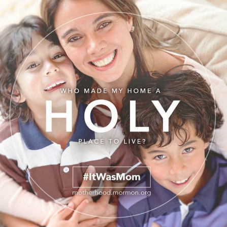"A photograph of a mother with her two sons and the words ""Who made my home a holy place to live?"""