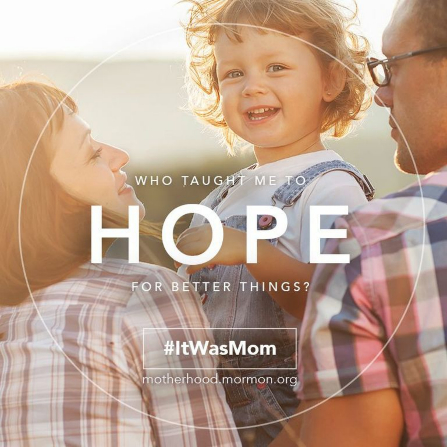 "A photograph of a mother and father with their young daughter and the words ""Who taught me to hope for better things?"""