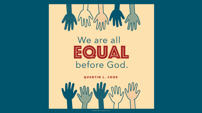 "An illustration of 10 hands in different shades with a quote by Elder Quentin L. Cook: ""We are all equal before God."""