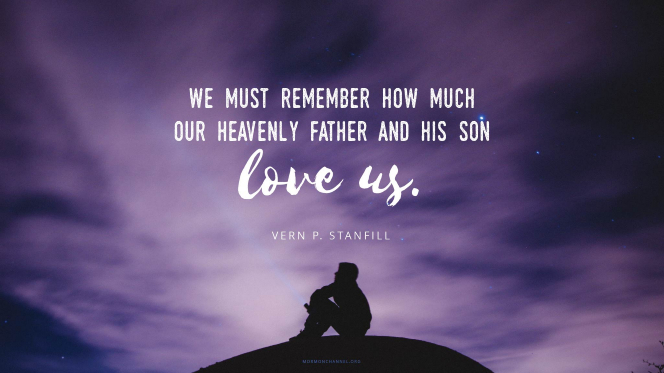 "A silhouette of a young man against a dramatic purple sky, with a quote by Elder Vern P. Stanfill: ""We must remember how much our Heavenly Father and His Son love us."""