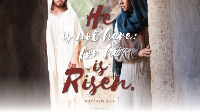 "Mary Magdalene encountering the resurrected Christ, with a quote from Matthew 28:6: ""He is not here: for he is risen."""