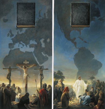 A diptych depicting Christ's Crucifixion and Christ visiting the New World, with the emblems of the Bible and Book of Mormon at the top.