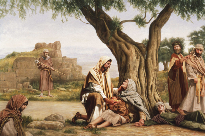 Christ reaching out to a woman and her baby, who are sitting at the base of a tree while others look on in curiosity.