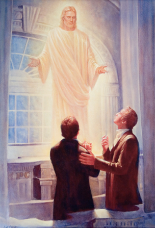 Joseph Smith and Oliver Cowdery standing in the Kirtland Temple, looking up toward Jesus Christ, who stands above them in white robes.