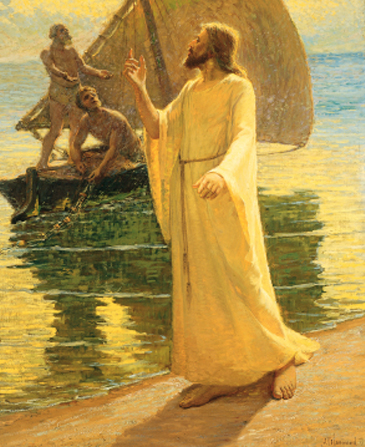 Jesus Christ in a white robe, walking barefoot along the water, calling out to two fishermen in a nearby sailboat.