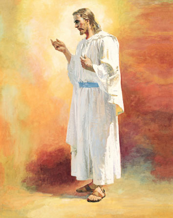 A full standing portrait of Christ in white robes, seen from the side, gesturing to the left in front of a wash of orange and yellow colors.