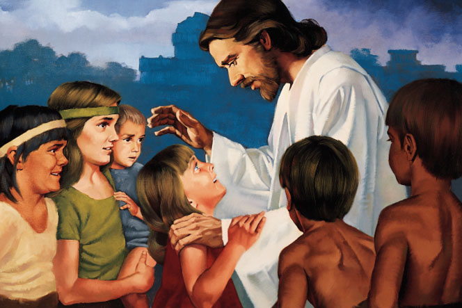 Jesus Christ in white robes, interacting with a group of six children in the Americas after His Resurrection.