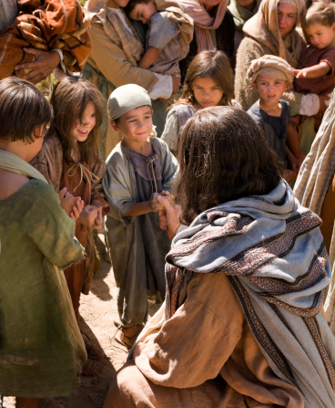 Luke 18:15–17, Jesus reaches His hand out to the little children