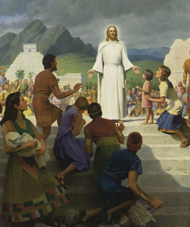 Jesus Christ stands in white robes on a flight of outdoor steps while Book of Mormon–era people gather around to look at the wounds in His hands; Mormon art