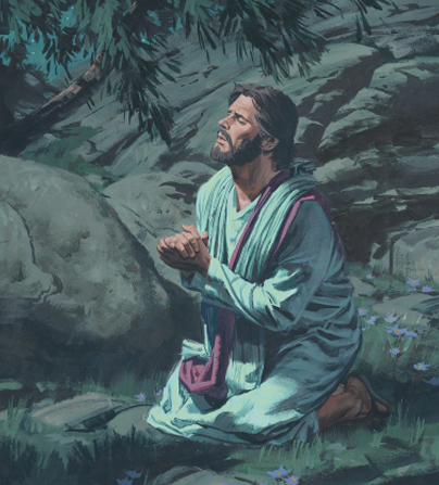 An illustration of Christ in red and white robes, kneeling in the Garden of Gethsemane, with hands clasped while praying.