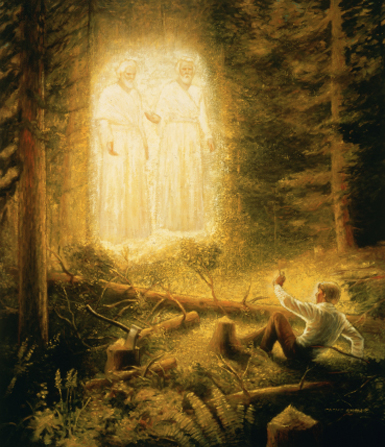 Joseph Smith sitting on the ground in a grove of trees while listening to Jesus Christ and God the Father, who are standing above the ground.