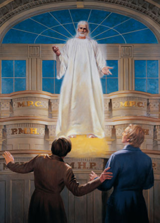 Joseph Smith and Oliver Cowdery looking startled in the Kirtland Temple as Christ appears to them, standing in the air.