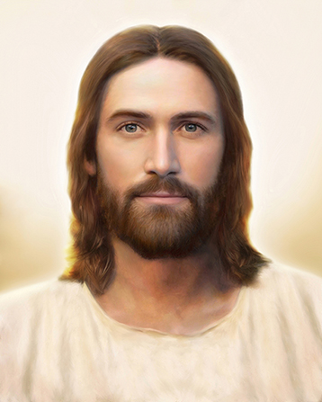 A portrait of Christ in a simple white robe in front of a plain neutral background, looking out at the viewer.