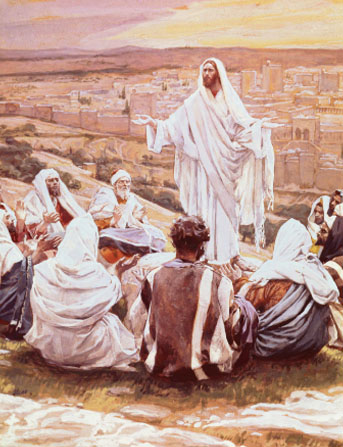 Christ in white robes, standing on a hillside near Jerusalem while His disciples sit around Him listening to His words.