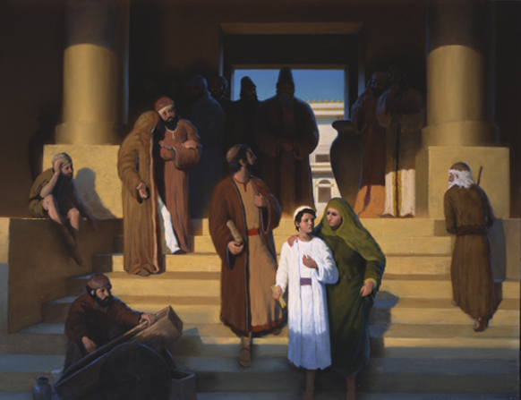 A painting depicting Mary leading a young Jesus out of the temple in Jerusalem while the crowd looks on in wonder.