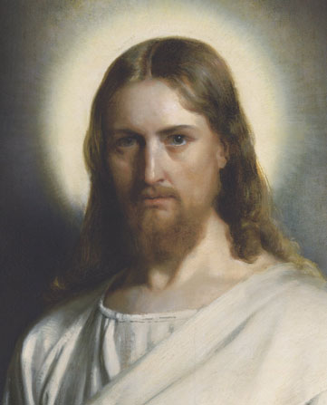 A portrait of Christ in white robes against a soft background of neutral colors, with light around His head.
