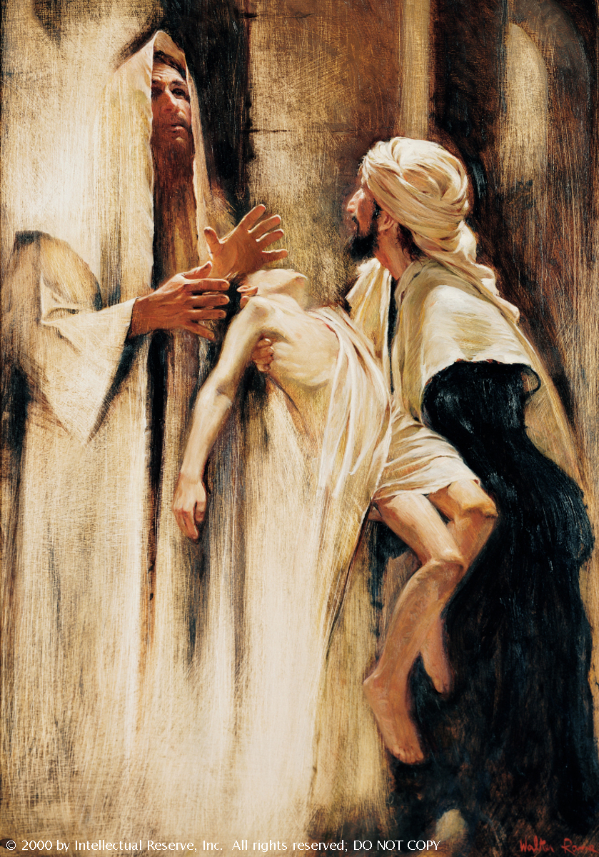 Christ in a white robe, looking to heaven and praying while a young boy is held out to Him by his father.