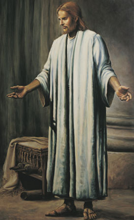 Christ in white robes and sandals, standing with outstretched arms in front of scrolls and a table seen in the background.